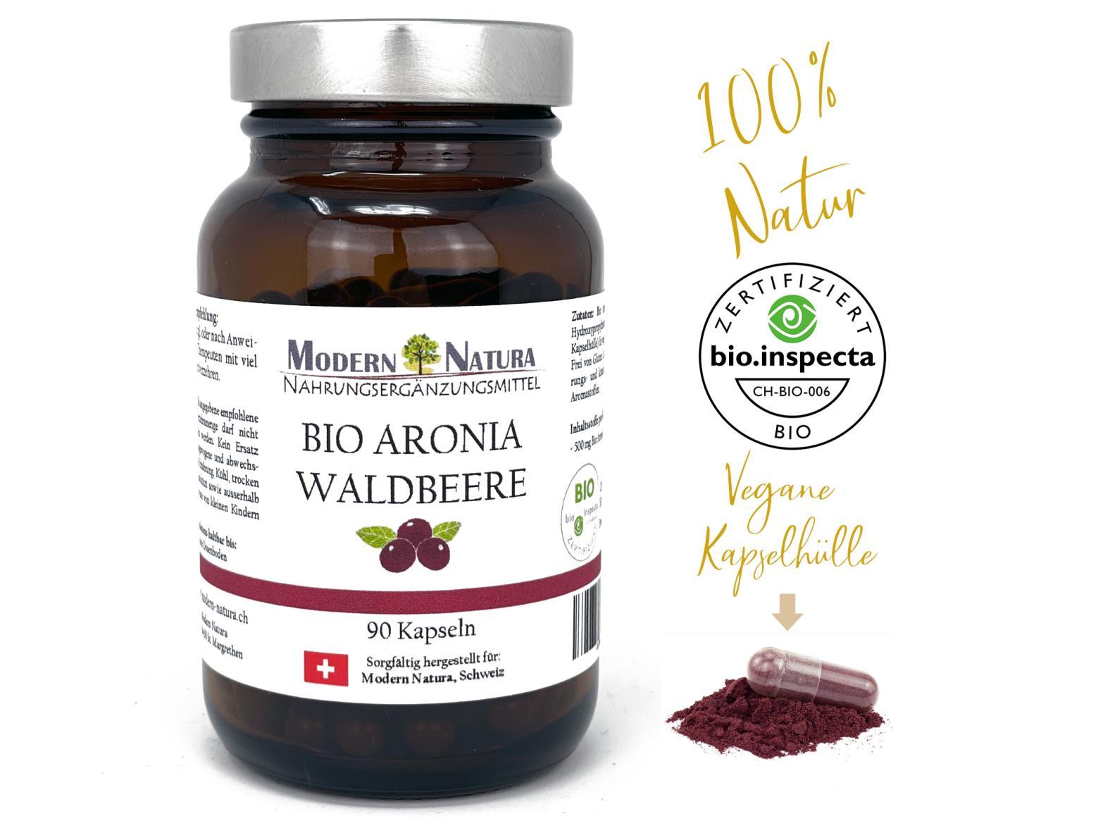 BIO Aronia Waldbeere - 90 Kapseln - Vegan & Glutenfrei - 500mg reinstes Aroniabeeren Pulver / Apfelbeere