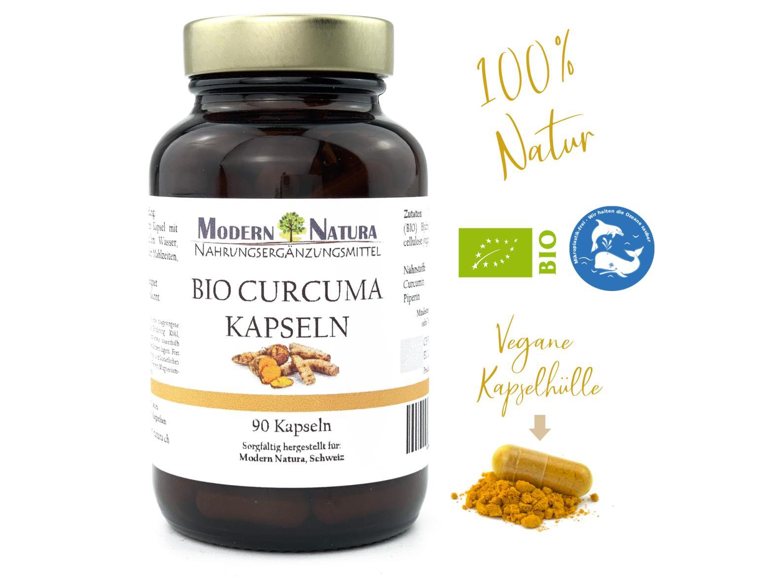 BIO Curcuma / Kurkuma - 90 Kapseln - 400mg Curcumin + 5mg Piperin - Vegan & Glutenfrei