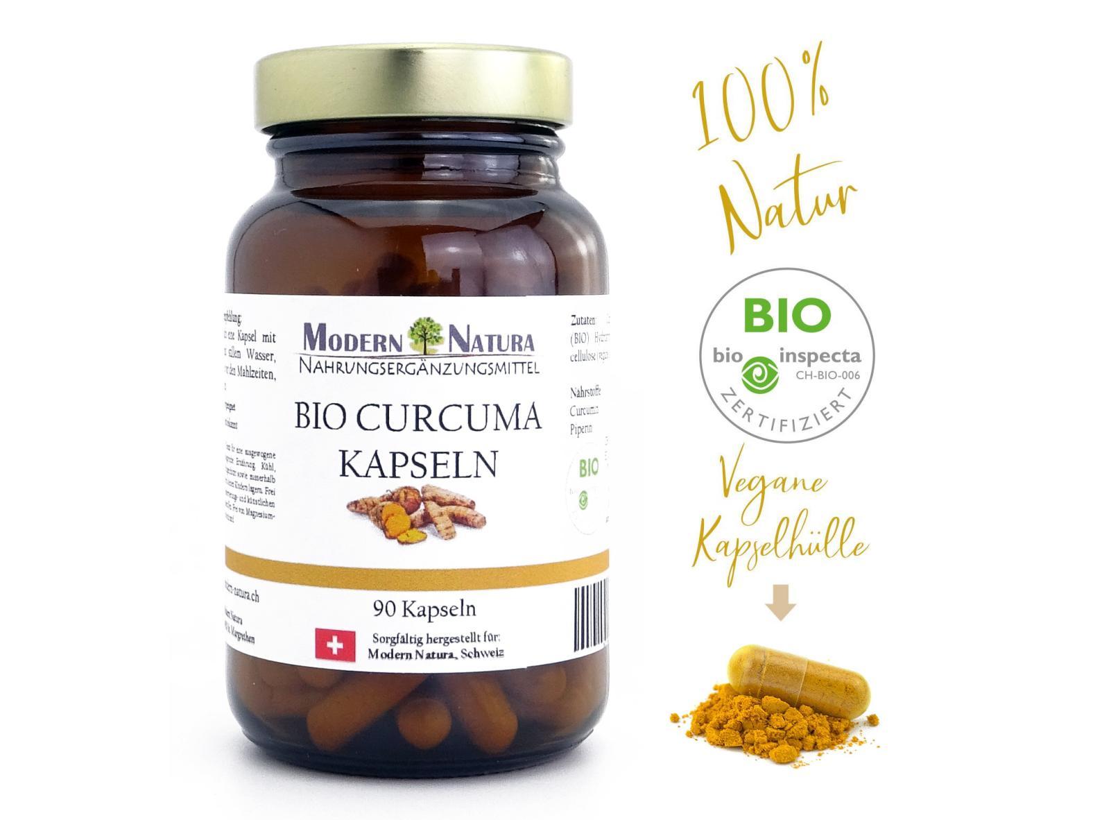 BIO Kurkuma / Curcuma - 1x 90 Kapseln Glas - Mit 400mg BIO Curcuma Pulver + 5mg BIO Schwarzer Pfeffer - Vegan & Glutenfrei
