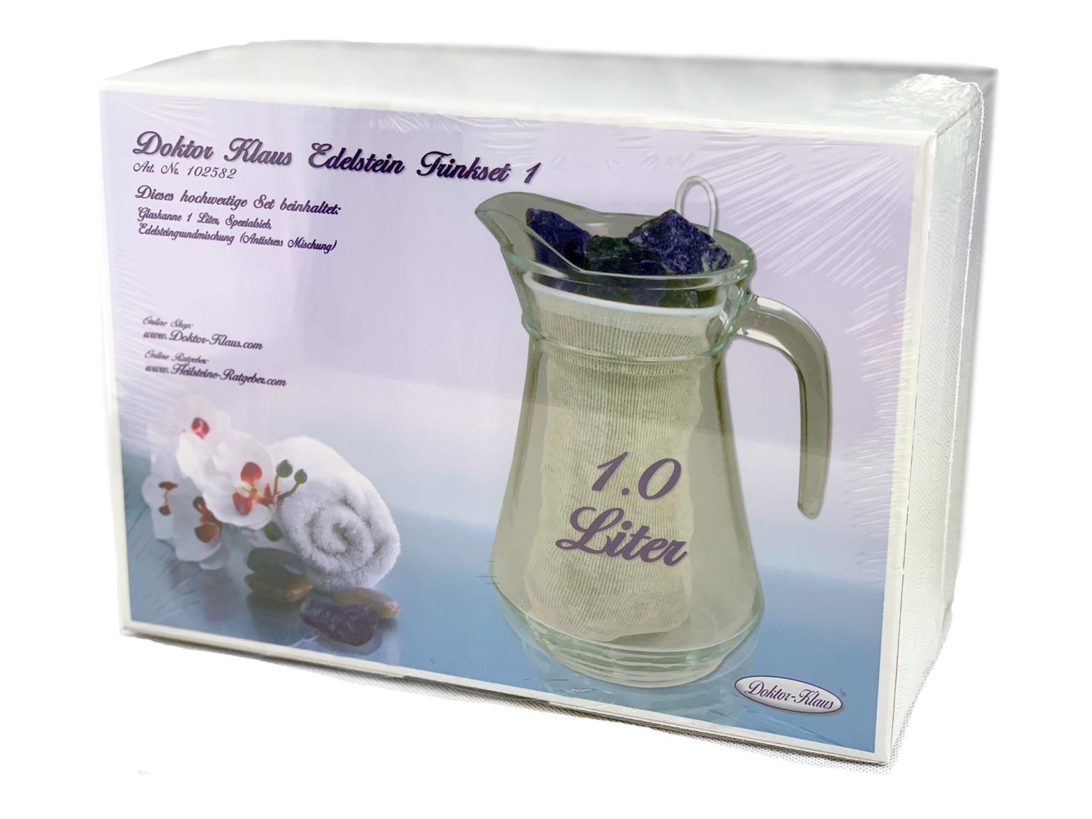 Doktor Klaus Edelstein / Wasserstein Trinkset (Glaskanne + Trinkglas + 250g Edelsteinmischung)