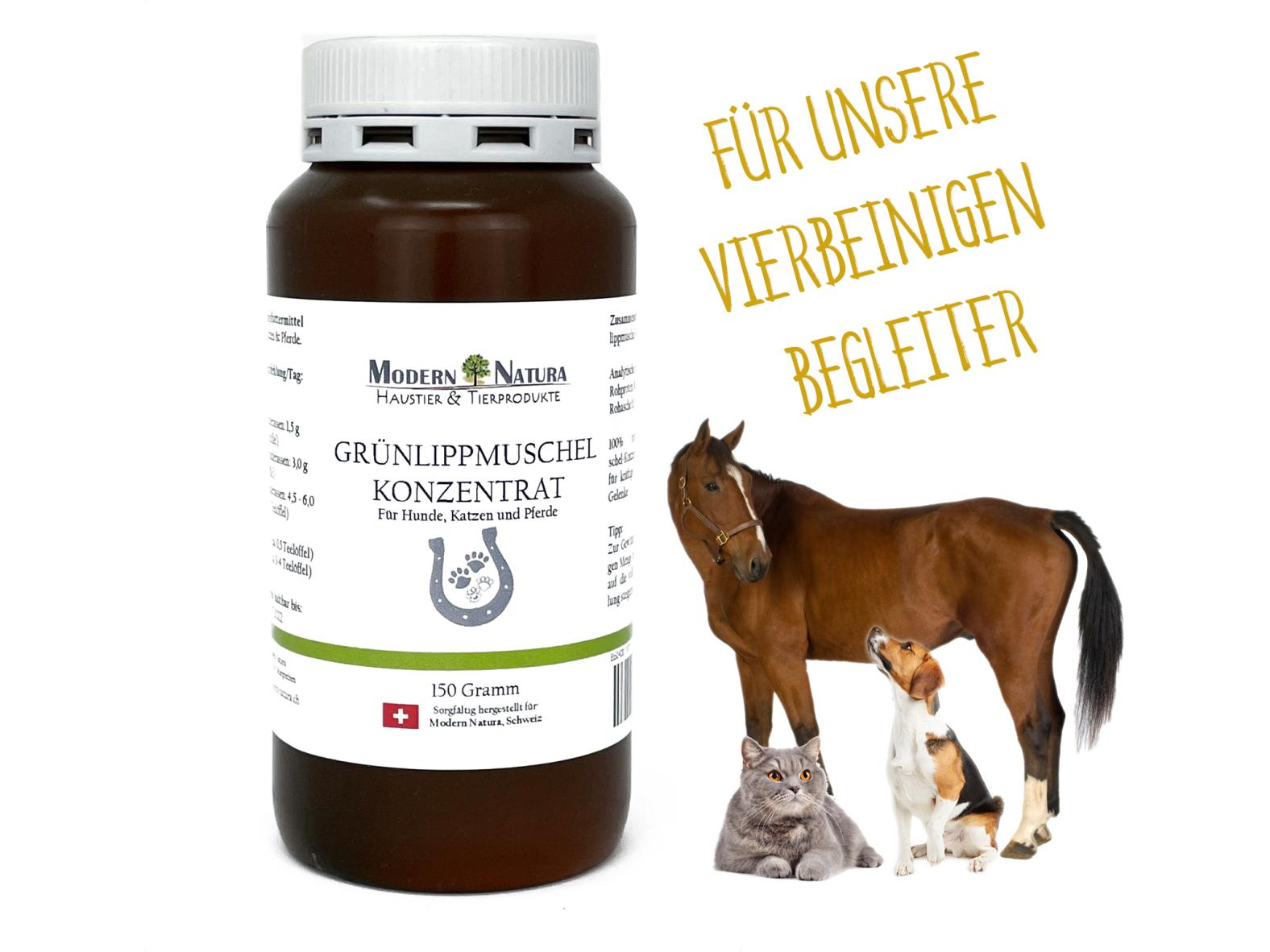 Grünlippmuschel Konzentrat für Hunde, Katzen & Pferde 150 Gramm - Ergänzungsfuttermittel für Gelenke und Knorpel