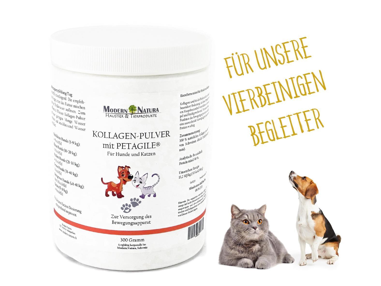 Kollagen-Pulver mit PETAGILE® für Hunde und Katzen - 300 Gramm