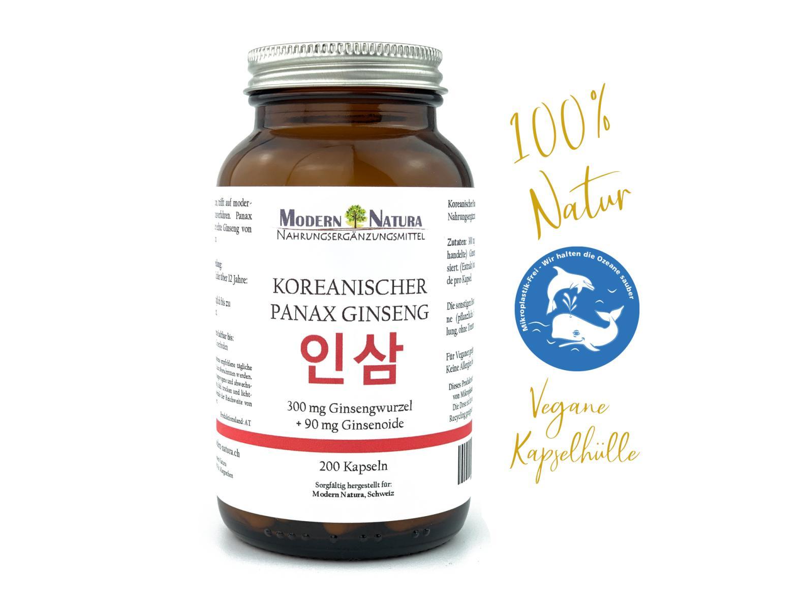 Echter Koreanischer Panax Ginseng - 300mg (200 Kapseln, C. A. Meyer, Vegan & Glutenfrei)