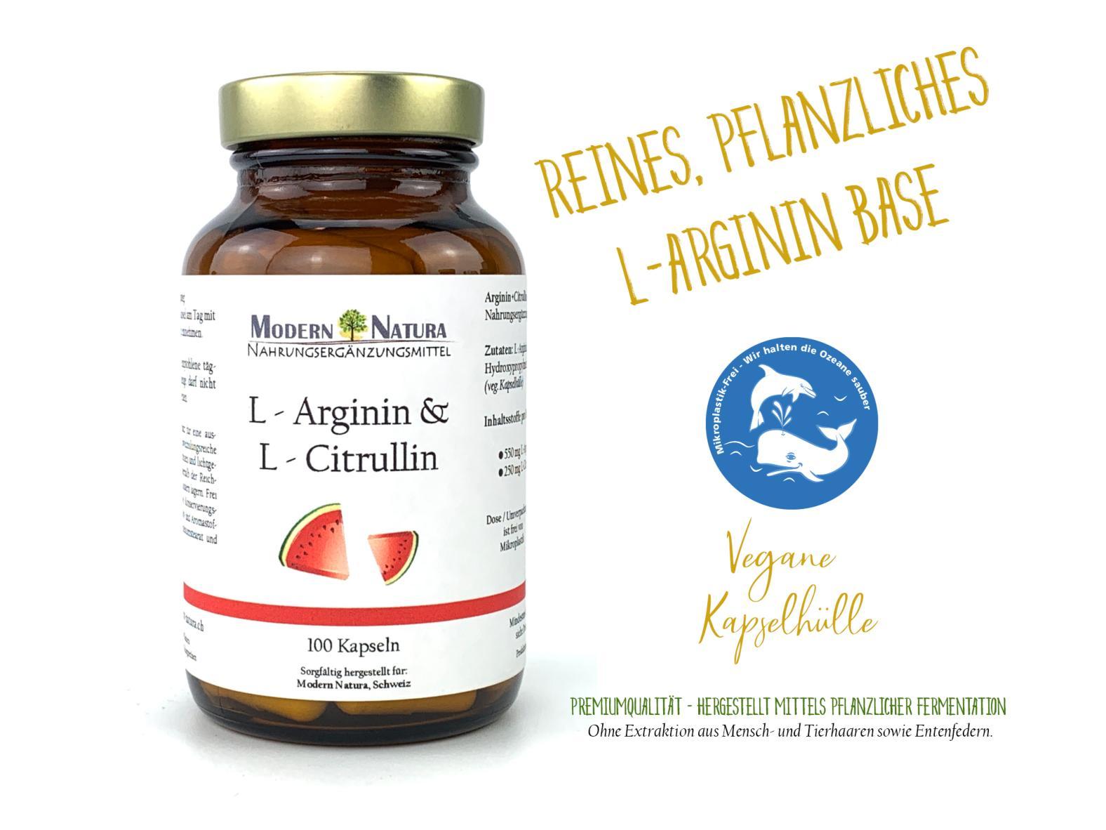 L-Arginin & L-Citrullin - 100 Kapseln - Vegan & Glutenfrei - Reines L-Arginin Base