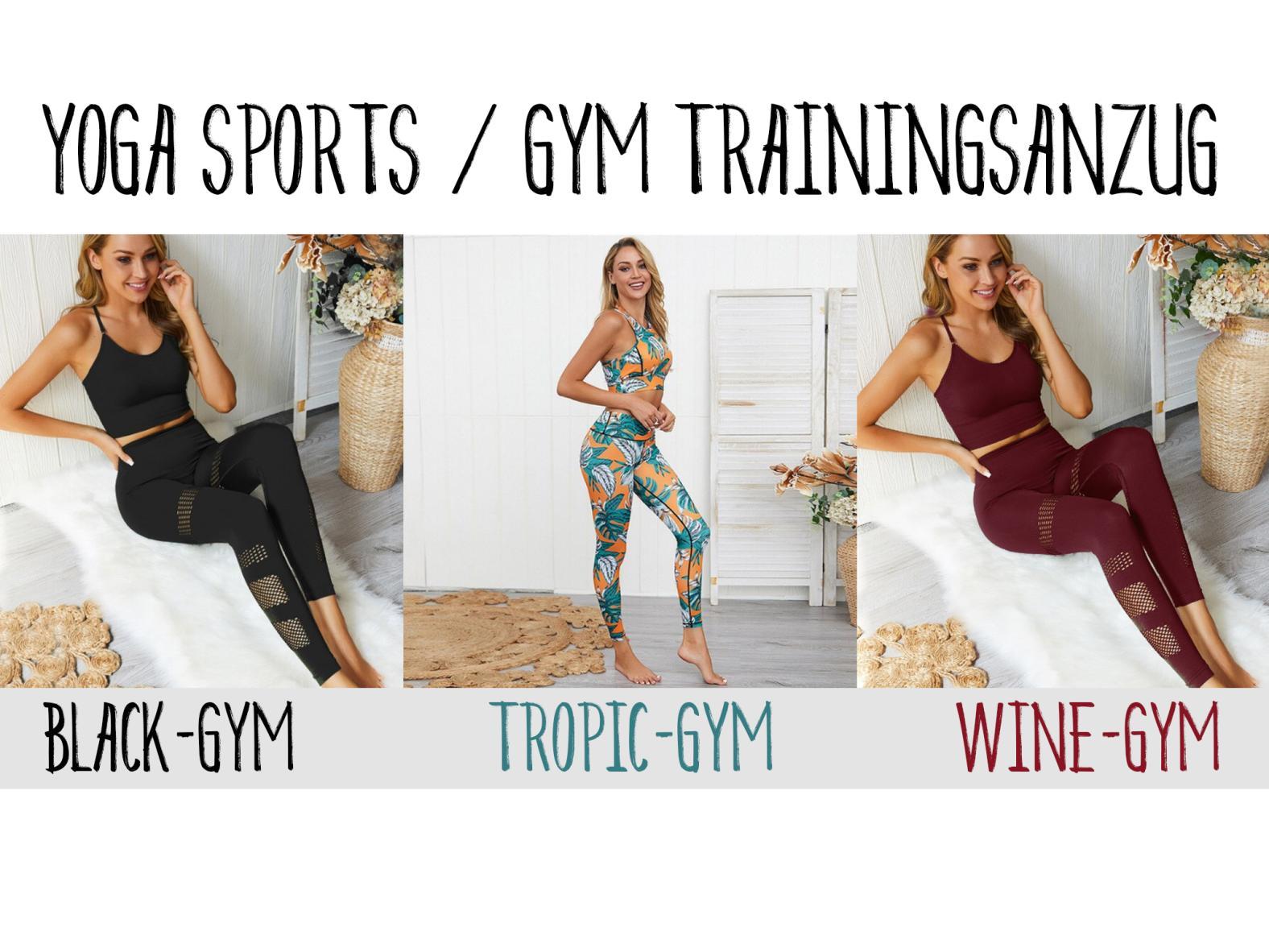 Yoga- und Sport Damen Trainingsanzug - Farben: Black, Wine Red, Tropic - Grösse S bis L