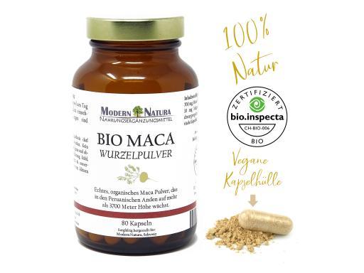 BIO Maca - 80 Kapseln - 700mg Macawurzelpulver - Vegan & Glutenfrei