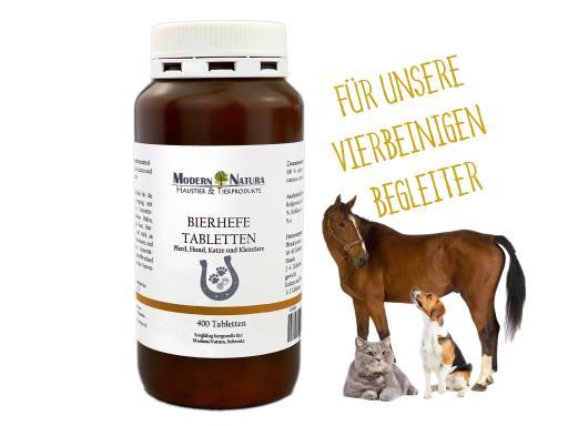 Bierhefe-Tabletten (400 Stück) für Pferde, Hunde & Katzen - Versorgung mit B-Vitaminen zur Unterstützung von gesunden Hufen, Krallen, Fell und Haut