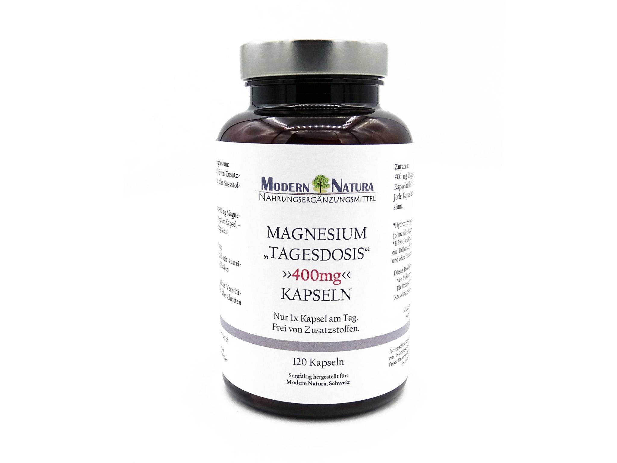 Magnesium - 400mg Tagesdosis Kapseln - Vegan & Glutenfrei