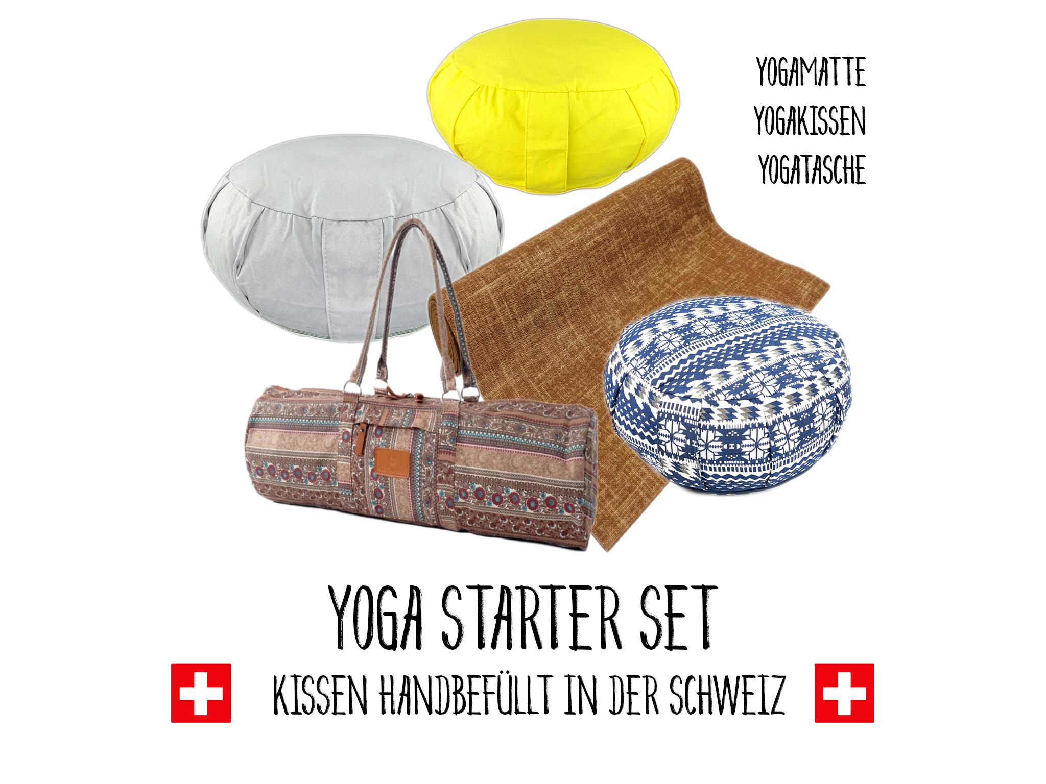 Yogamatte mit Yoga Kissen und Tasche - Set 1